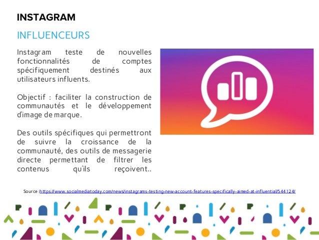 Instagram teste de nouvelles fonctionnalités de comptes spécifiquement destinés aux utilisateurs influents. Objectif : fac...