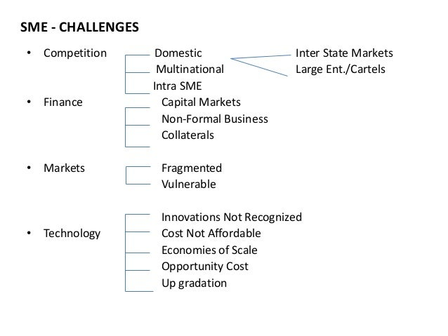 SME - CHALLENGES  • Competition Domestic Inter State Markets  Multinational Large Ent./Cartels  Intra SME  • Finance Capit...