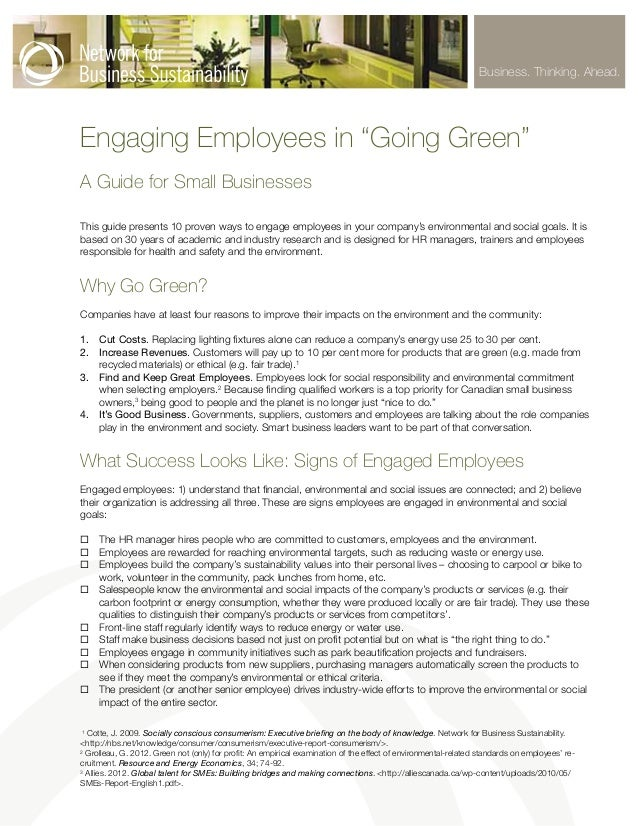 """Business. Thinking. Ahead.  Engaging Employees in """"Going Green"""" A Guide for Small Businesses This guide presents 10 proven..."""
