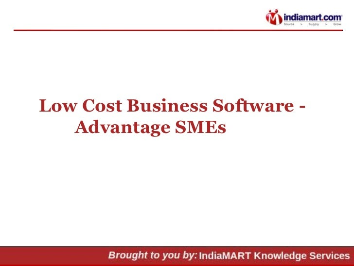 Low Cost Business Software -   Advantage SMEs