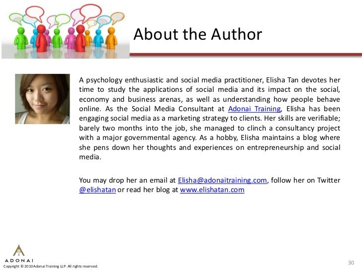 About the Author                                                A psychology enthusiastic and social media practitioner, E...