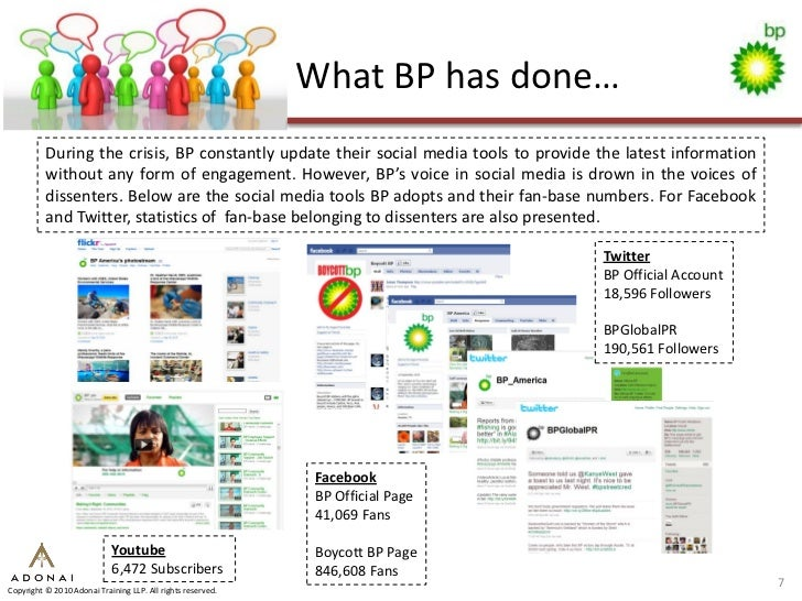 What BP has done…           During the crisis, BP constantly update their social media tools to provide the latest informa...
