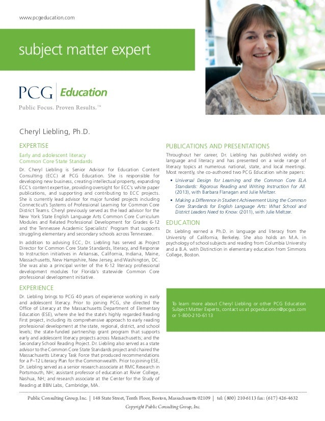 www.pcgeducation.com  subject matter expert  Cheryl Liebling, Ph.D. EXPERTISE  PUBLICATIONS AND PRESENTATIONS  Early and a...