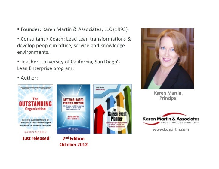  Founder: Karen Martin & Associates, LLC (1993). Consultant / Coach: Lead Lean transformations & develop people in offic...