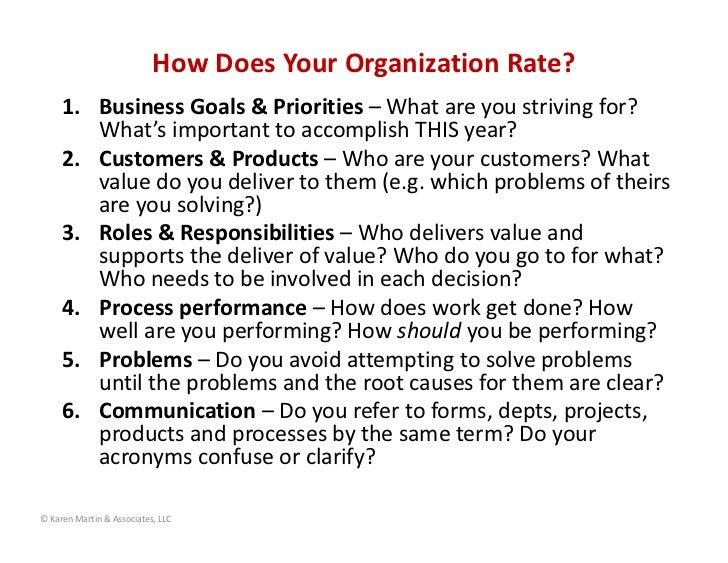 HowDoesYourOrganizationRate?     1. BusinessGoals&Priorities– Whatareyoustrivingfor?        What'simportant...