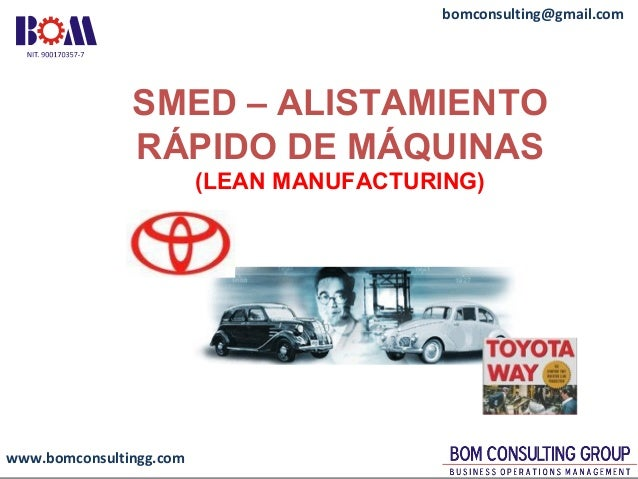 www.bomconsultingg.com bomconsulting@gmail.com SMED – ALISTAMIENTO RÁPIDO DE MÁQUINAS (LEAN MANUFACTURING)
