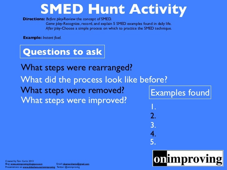 SMED Hunt Activity                Directions: Before play-Review the concept of SMED.                            Game play...