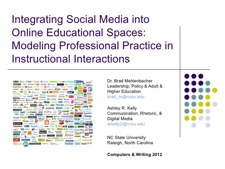 Integrating Social Media intoOnline Educational Spaces:Modeling Professional Practice inInstructional Interactions        ...