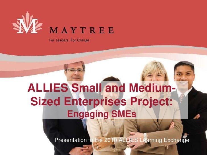 ALLIES Small and Medium- Sized Enterprises Project:         Engaging SMEs      Presentation to the 2010 ALLIES Learning Ex...