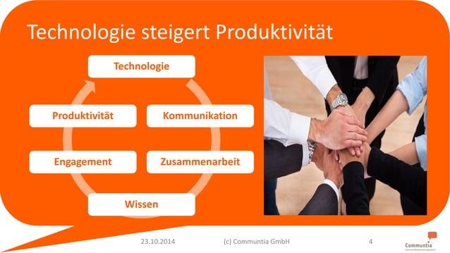 Technologie steigert Produktivität  Technologie  Kommunikation  Zusammenarbeit  Wissen  Produktivität  Engagement  23.10.2...