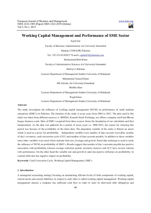 European Journal of Business and Management ISSN 2222-1905 (Paper) ISSN 2222-2839 (Online) Vol.5, No.1, 2013  www.iiste.or...
