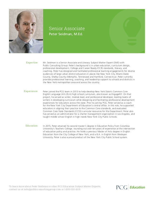 Mr. Seidman is a Senior Associate and Literacy Subject Matter Expert (SME) with Public Consulting Group. Peter's backgroun...