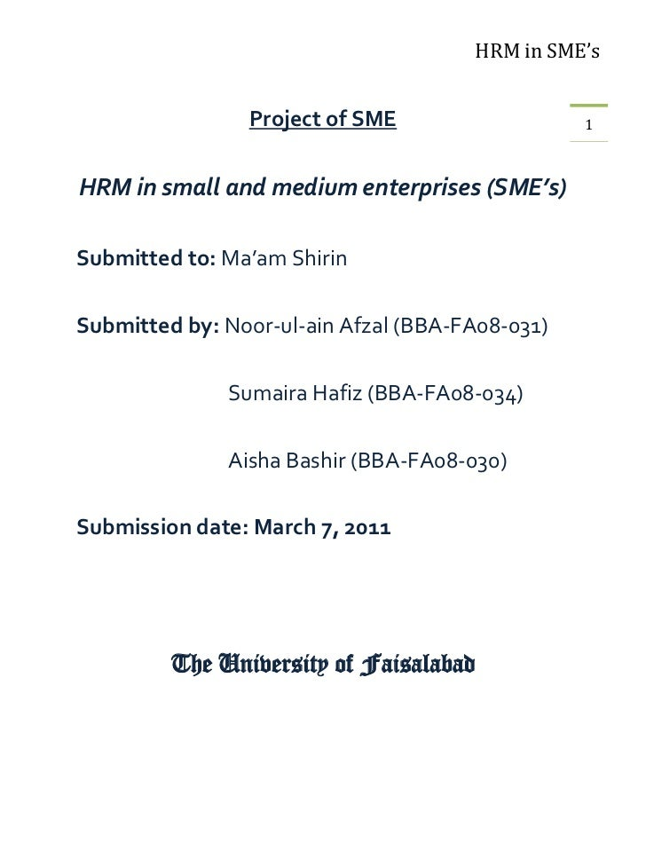 HRM in SME's                Project of SME                   1HRM in small and medium enterprises (SME's)Submitted to: Ma'...