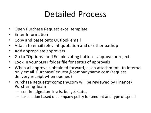 Purchase request process for small to medium sized company for Purchasing policies and procedures template