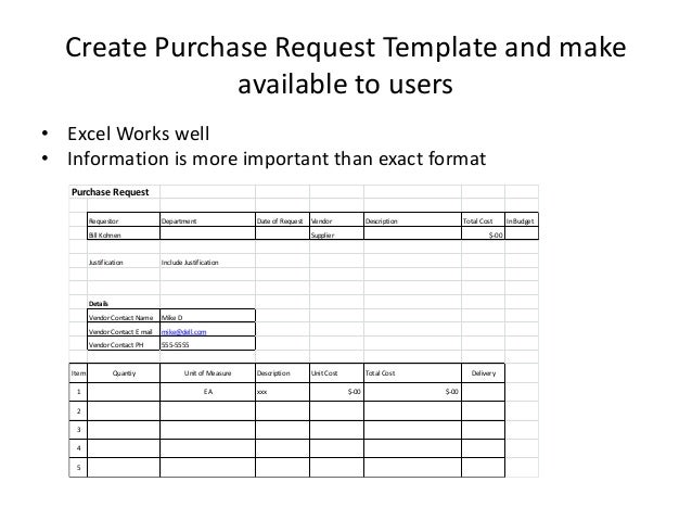 Purchase request process for small to medium sized company for It purchase request form template