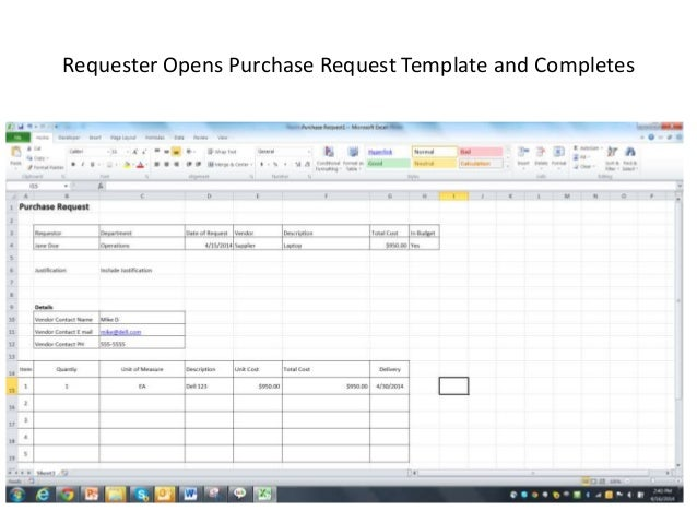 purchasing request template