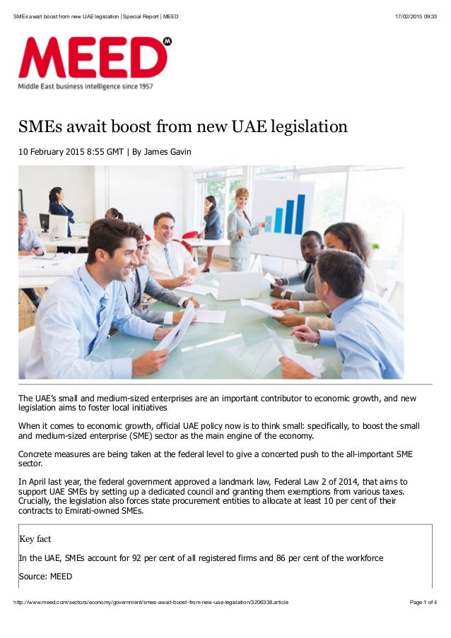 17/02/2015 09:33SMEs await boost from new UAE legislation | Special Report | MEED Page 1 of 4http://www.meed.com/sectors/e...