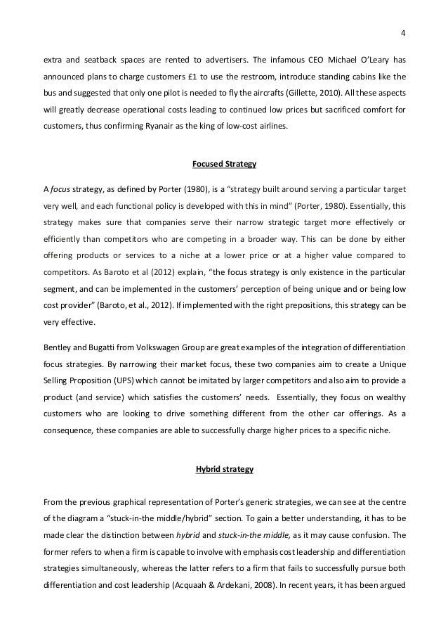 Essays About Science  Narrative Essay Papers also Examples Of Essays For High School Strategic Management Essay  Porters Generic Strategies And  Essay Term Paper