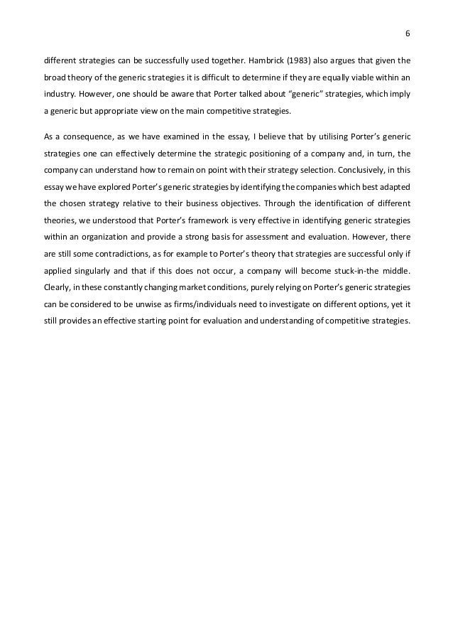 strategic management essay porter s generic strategies and strategi   6