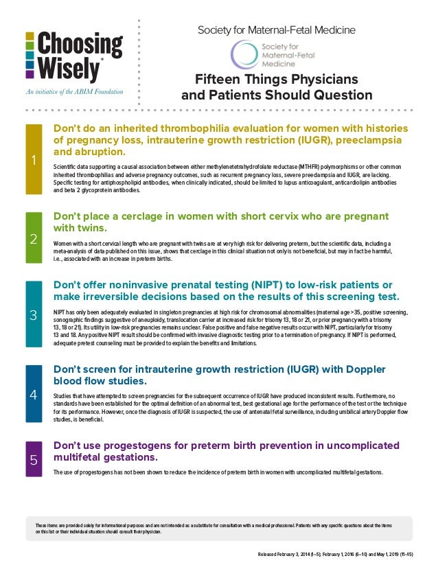 Choosing Wisely: 15 Things Physicians and Patients Should Question