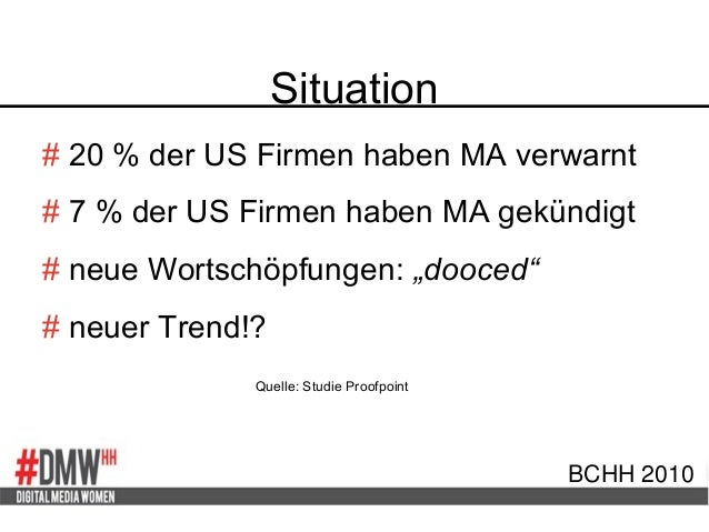 Situation BCHH 2010 # 20 % der US Firmen haben MA verwarnt # 7 % der US Firmen haben MA gekündigt # neue Wortschöpfungen: ...