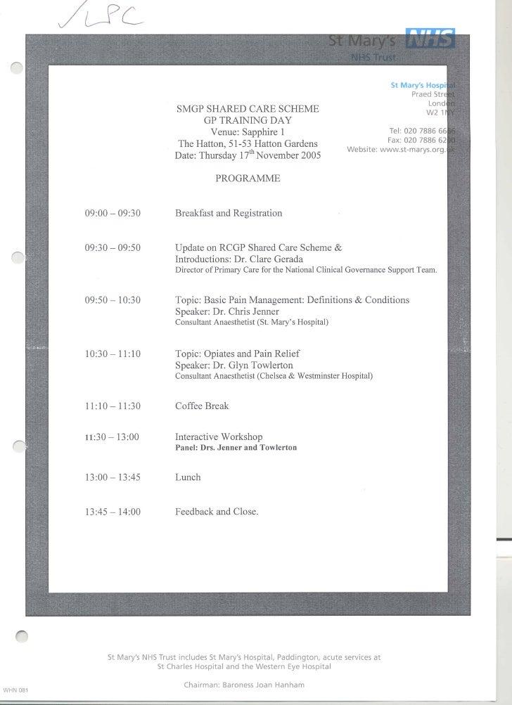 Smgp shared care scheme GP training day 17.11.05