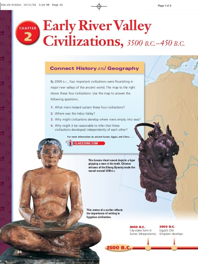 Early RiverValley Civilizations, 3500 B.C.–450 B.C. Connect History and Geography 3000 B.C. City-states form in Sumer, Mes...