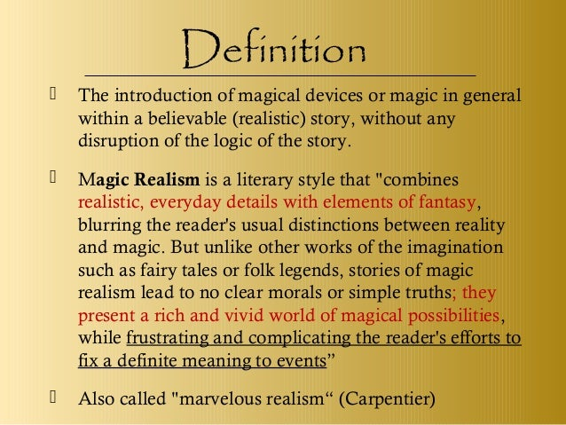 magical realism specific description composition sample