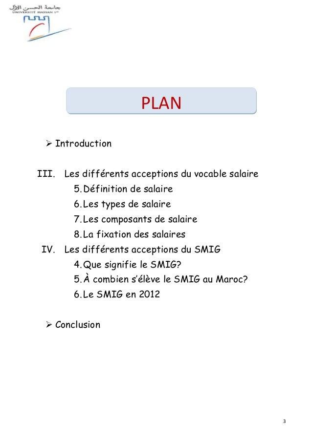 3  Introduction III. Les différents acceptions du vocable salaire 5.Définition de salaire 6.Les types de salaire 7.Les co...