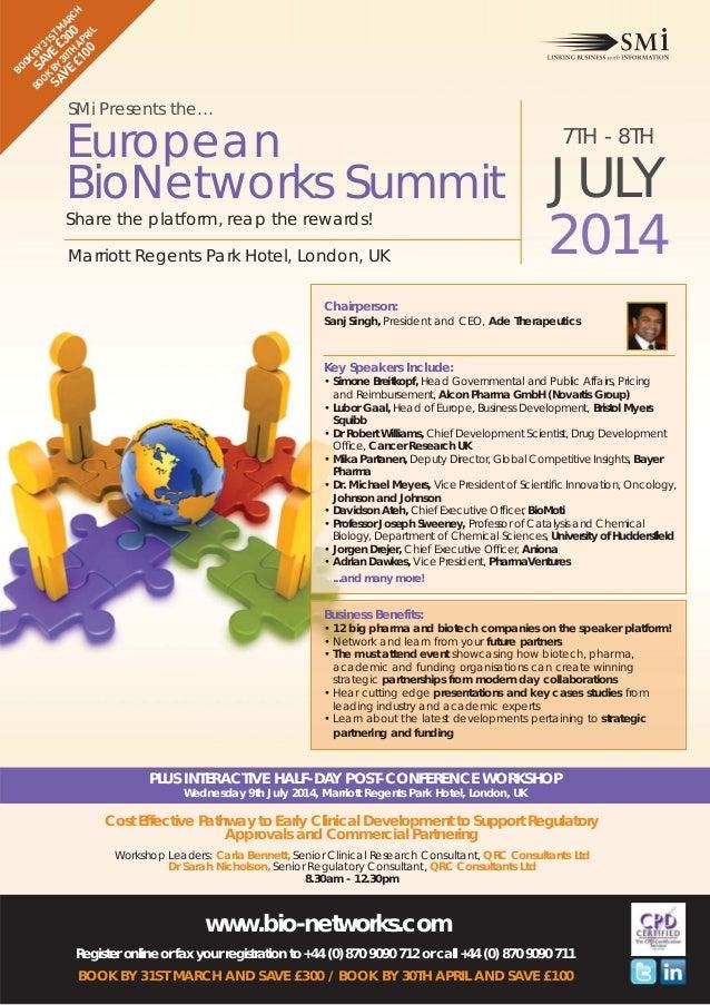 BO S BY OK AV 31 SA BY E £ ST M VE 30T 30 AR £1 H AP 0 CH 00 RIL  BO OK  SMi Presents the…  European BioNetworks Summit Sh...
