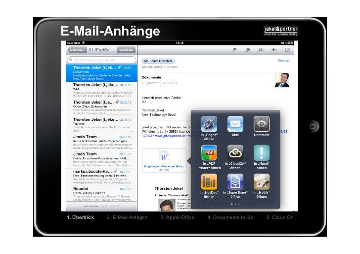 E-Mail-Anhänge1. Überblick   2. E-Mail-Anlagen   3. Apple-Office   4. Documents to Go   5. Cloud On