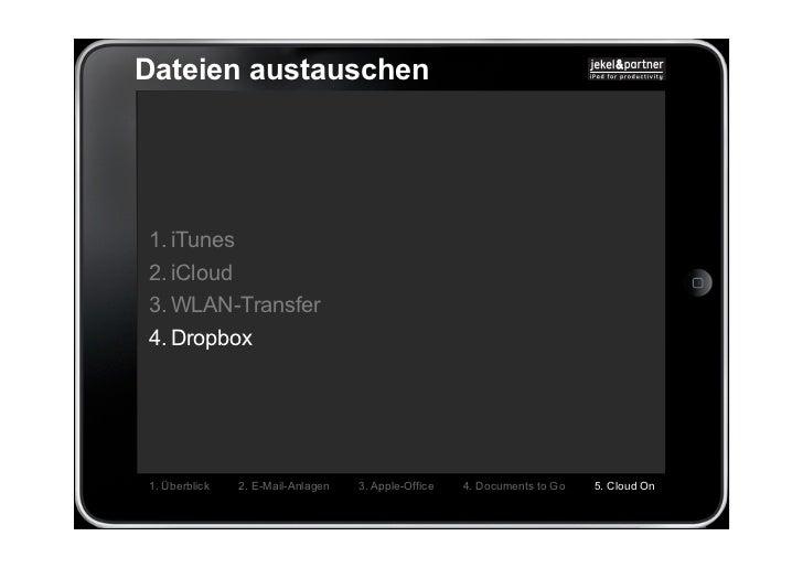 Dateien austauschen1. iTunes2. iCloud3. WLAN-Transfer4. Dropbox1. Überblick   2. E-Mail-Anlagen   3. Apple-Office   4. Doc...