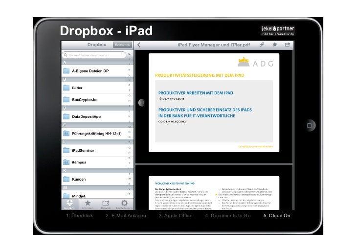 Dropbox - iPad1. Überblick   2. E-Mail-Anlagen   3. Apple-Office   4. Documents to Go   5. Cloud On