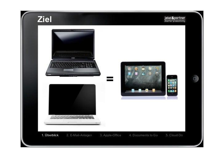 Ziel                                        = 1. Überblick   2. E-Mail-Anlagen   3. Apple-Office   4. Documents to Go   5....