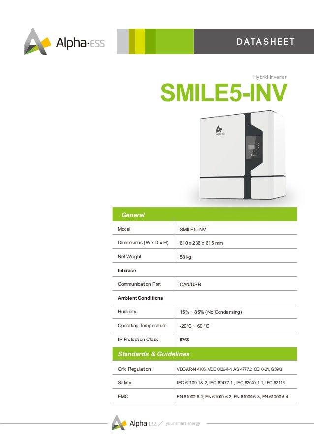 D ata s h e e t SMILE5-INV Hybrid Inverter SMILE5-INV 610 x 236 x 615 mm 58 kg CAN/USB 15% ~ 85% (No Condensing) -20°C ~ 6...