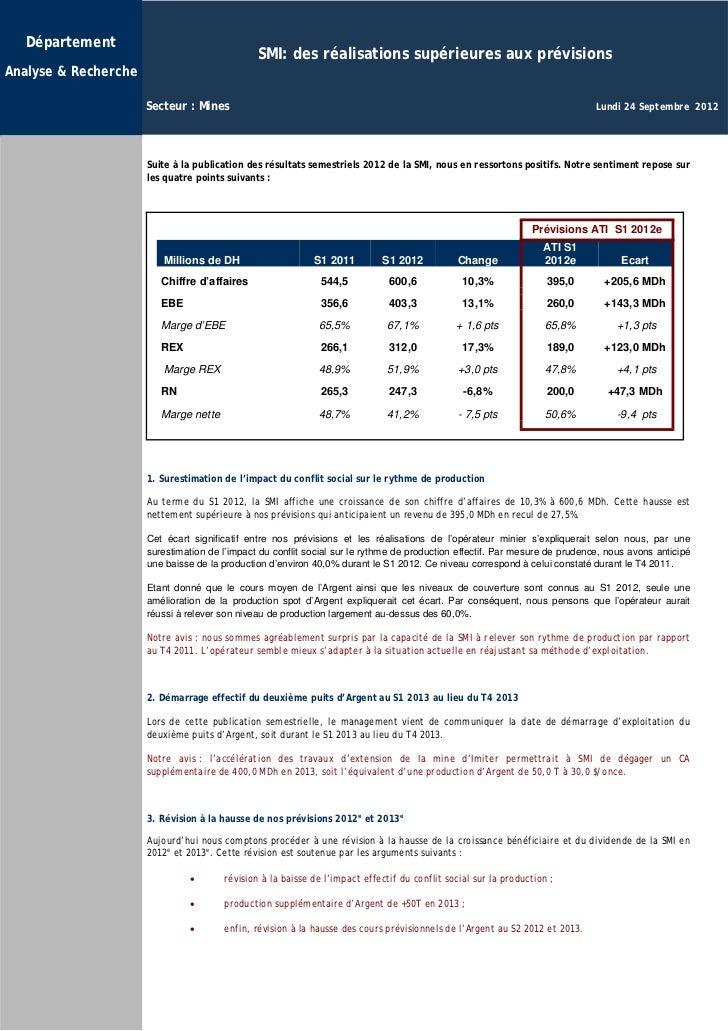 Département                                               SMI: des réalisations supérieures aux prévisionsAnalyse & Recher...
