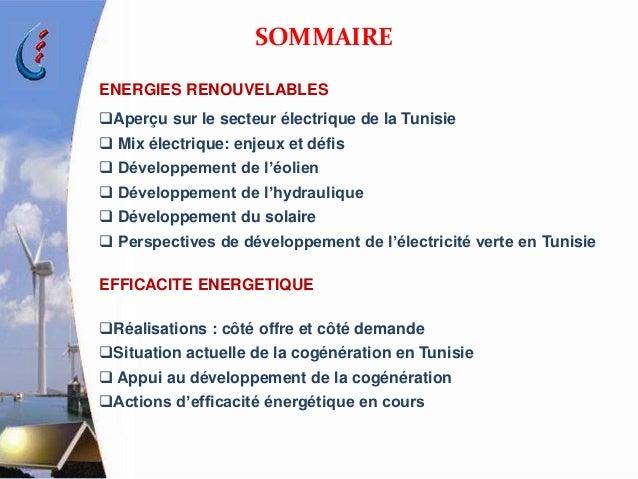 SITUATION ET PERSPECTIVES DE DEVELOPPEMENT DES ENERGIES  RENOUVELABLES   ET DE L'EFFICACITE ENERGETIQUE A LA STEG Slide 2