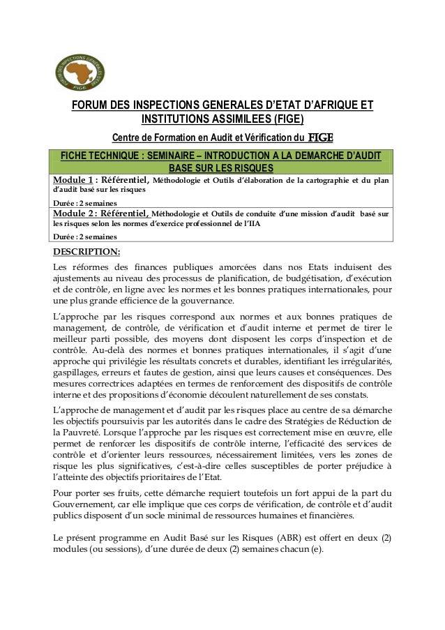 FORUM DES INSPECTIONS GENERALES D'ETAT D'AFRIQUE ET INSTITUTIONS ASSIMILEES (FIGE) Centre de Formation en Audit et Vérific...