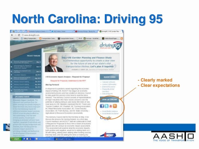 North Carolina: Driving 95                     - Clearly marked                     - Clear expectations