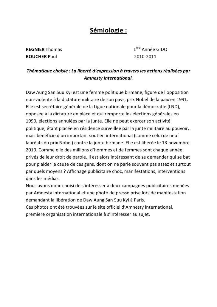 Sémiologie :REGNIER Thomas                                       1ère Année GIDOROUCHER Paul                              ...