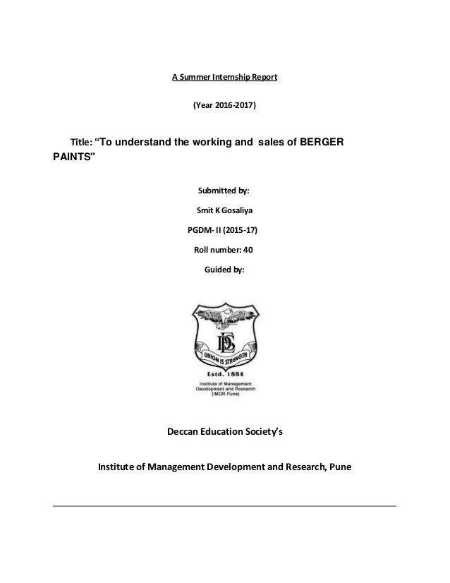 internship report on berger paints smit gosasliya