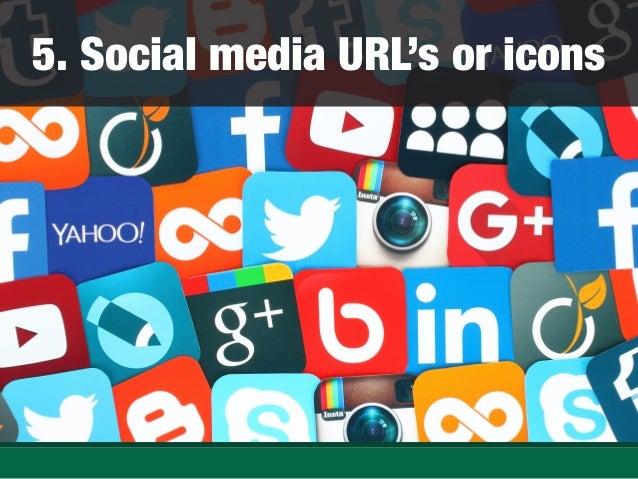 Social media URL's or icons ...