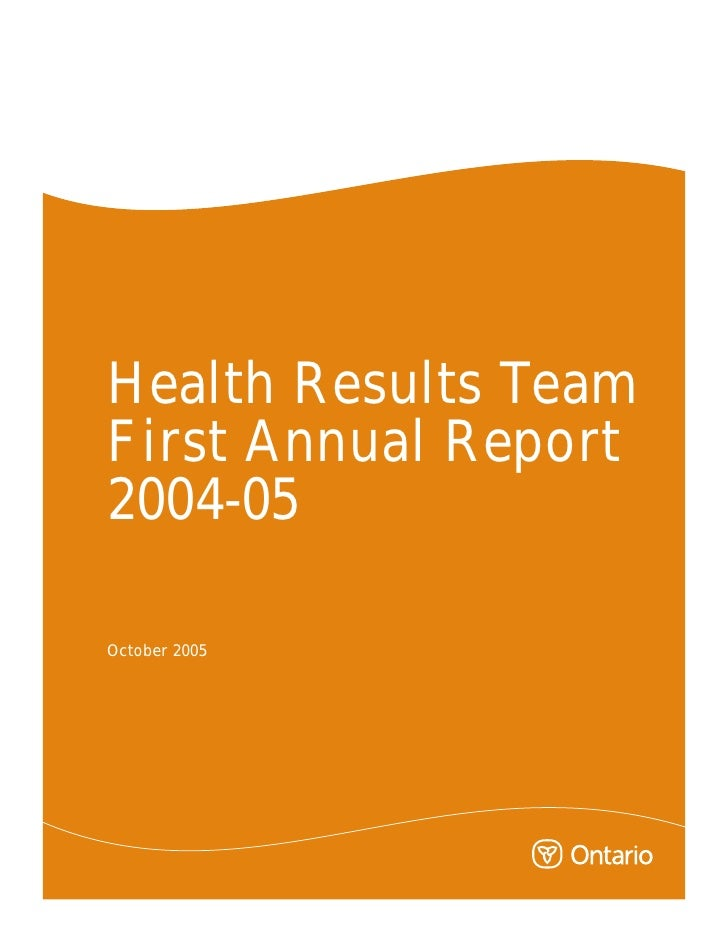 Health Results Team First Annual Report 2004-05  October 2005