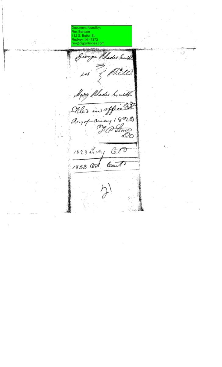 Document found by:Rex Bertram132 S. Butler St.Redkey, IN 47373rex@digginbones.com