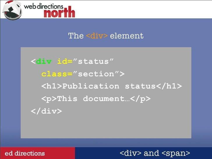 The element - Div class id ...