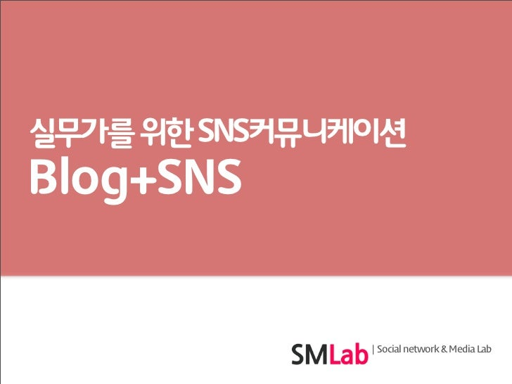 실무가를 위한 SNS커뮤니케이션Blog+SNS                 Social network & Media Lab