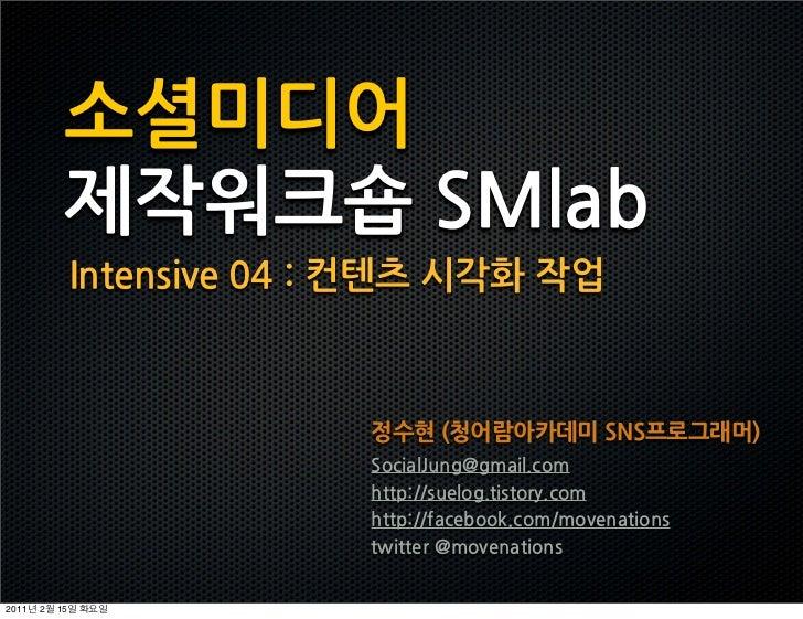 소셜미디어            제작워크숍SMlab                Intensive04:컨텐츠시각화작업                                                 정수현(청어람아카데...