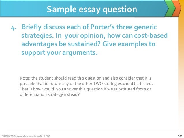 porters 5 generic strategies 2 essay Industry internal analysis , strategic objectives, porters generic strategies on minute maid pulpy, means and methods, global factors and current issues.