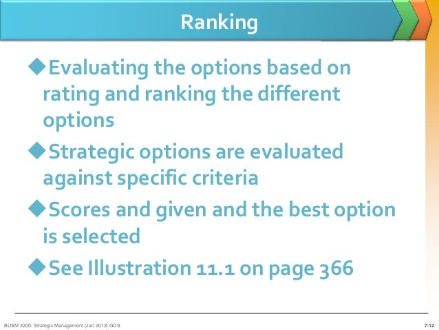 ranking strategic options