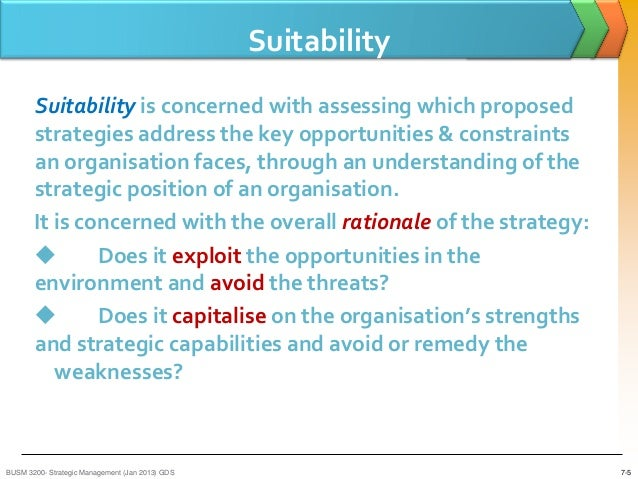 suitability acceptability feasibility It also access or evaluate those strategies by using the suitability, feasibility, and  acceptability 1 introduction: this report investigates the h&m strategic.
